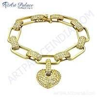Party Wear Designer Cubic Zirconia Gold Plated Silver Bracelet