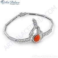 Beautiful Antique Style Cubic Zirconia & Synthetic Coral Silver Bracelet