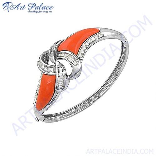 Attractive Cubic Zirconia & Synthetic Coral Silver Bracelet