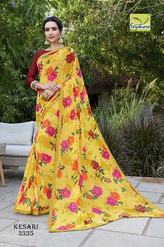 Designer printed braso saree