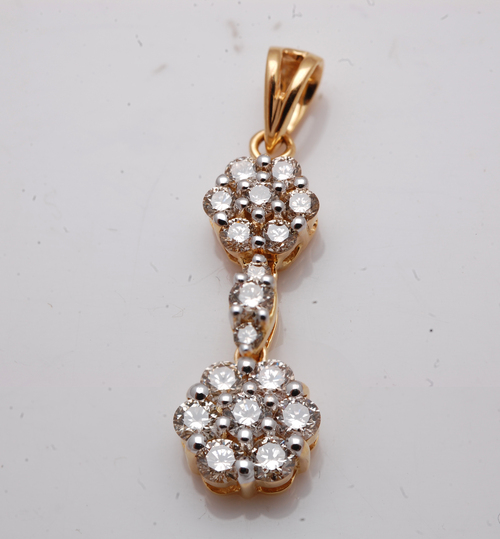long and traditional pendant, wholesale diamond real gold, double clusters diamond pendant de