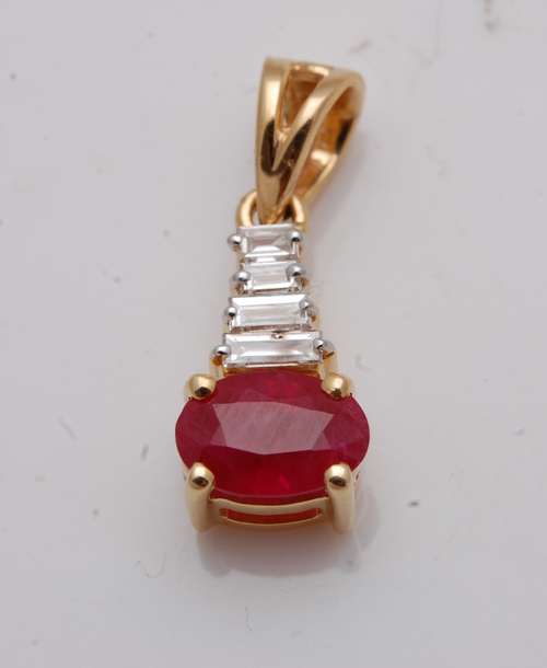 gold gemstone jewelry, simple gold pendant ruby for cute girls, baguette oval natur