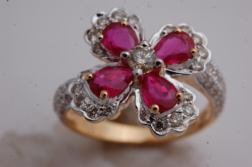 Ruby flower ring design for bride, gemstone wedding and engagement ring for girls