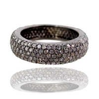 Pave Diamond Silver Band Ring