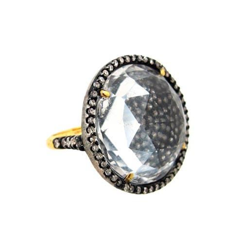 Pave Diamond Crystal Ring