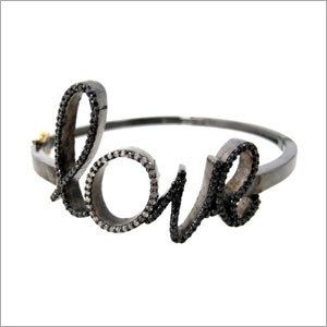 Pave Diamond Silver Love Sign Bangle Jewelry