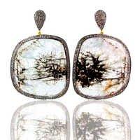 Aquamarine Gemstone Diamond Pave Earrings