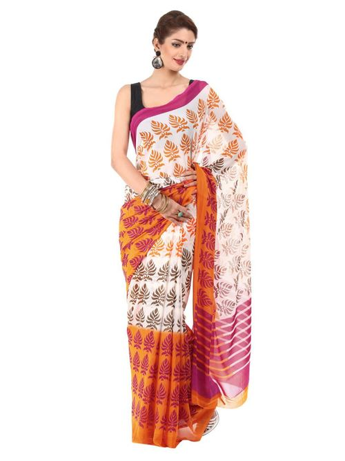 Printed Embroidery Polyester Saree