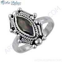 Indian Ethnic Work Garnet Gemstone Silver Designer Ring
