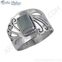 Truly Designer Blue Chalcedony Gemstone Silver Fret Work Ring