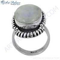 Antique Style Rainbow Moonstone Gemstone Silver Ethnic Ring
