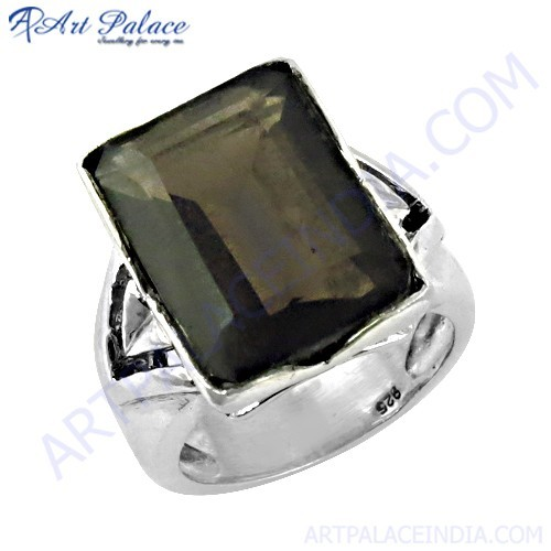 Gracious Fashion Smokey Quartz Gemstone Silver Ring