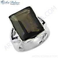 Gracious Fashion Smokey Quartz Gemstone Silver Ring