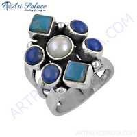 Handcrafted Lapis Lazuli & Pearl & Turquoise Gemstone Silver Ring