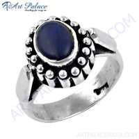 Imperial Lapis Lazuli Gemstone Silver Ethnic Work Ring