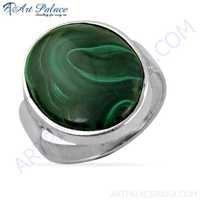 Hand Created Malachite Gemstone Silver Ring