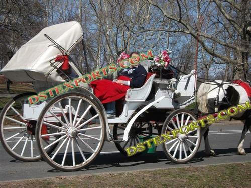 White Victoria Carriage With Red Hood