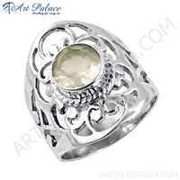 Truly Designer Rose Quartz Gemstone Silver Fret Work Ring