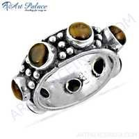 New Antique Tiger Eye Gemstone Silver Ring