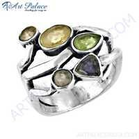 Newest Style Multi Gemstone Silver Ring, 925 Sterling Silver Jewelry