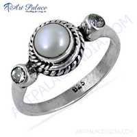 Fabulous Pearl & Cubic Zirconia Gemstone Silver Designer Ring