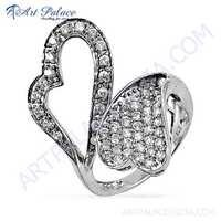Antique Dual Heart Style Cubic Zirconia Gemstone Silver Ring