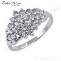 Vintage Inspired Blue Topaz Gemstone Silver Ring