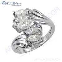 Celeb Style Cubic Zirconia Gemstone Silver Ring