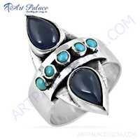 Gracious Fashionable Iolite & Turquoise Gemstone Silver Ring