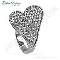 Rocking Heart Style Cubic Zirconia Gemstone Silver Ring
