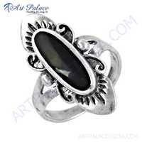 Indian Ethnic Designer Black Onyx Gemstone Silver Ring