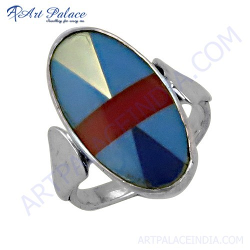 Newest Style Fashionable Inlay Silver Ring