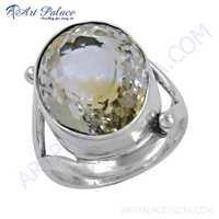 Rocking Style Citrine Gemstone Silver Ring