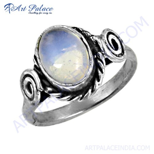 Lastest Luxury Synthetic Opal Gemstone Silver Designer Ring