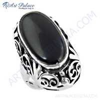 Feminine Unique Designer Black Onyx Gemstone Silver Ring