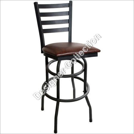 Iron Bar Stool With Brown Finish