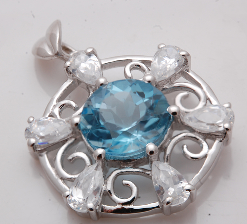 Designer real stone silver pendant, round topaz and pear shaped CZ eternal pendant