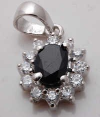 oval shape opaque sapphire and cz silver jewelry, russian style silver jewelry wholesale supplier