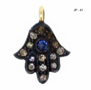 Pave Diamond Hamsa Pendant Charm