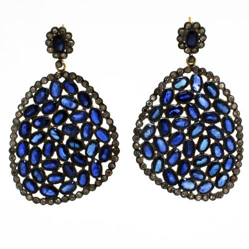 Blue Sapphire & Diamond Cluster Earrings
