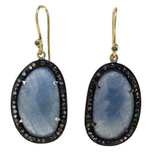 Gemstone Pave Dangle Earrings