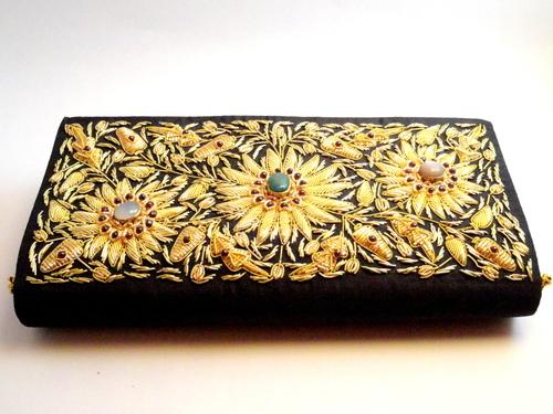 Hand Embroidery Zari Work Clutch or Purse