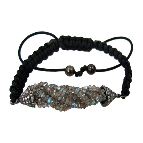 Labradorite Diamond Macrame Bracelet