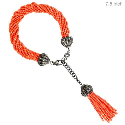Diamond Coral Beaded Tassel Bracelet