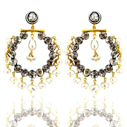 Rose cut Diamond Pearl Dangle Earrings