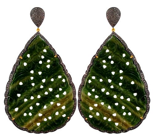 Gold Diamond Carving Earring