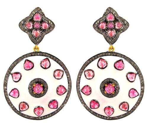 Enamel Pave Diamond Tourmaline Gemstone Earrings