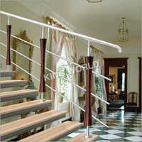 Staircase Railing With Glass And Wood