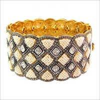 14k Gold Rose Cut Diamond Pearl Bangle