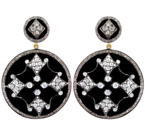 Silver Diamond Moonstone Earrings Enamel Jewelry
